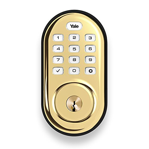 yale real living keyless push button deadbolt in polished brass standalone yrd210 nr 605. Black Bedroom Furniture Sets. Home Design Ideas